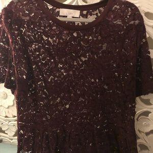 Lace Peplum Top - Wine color